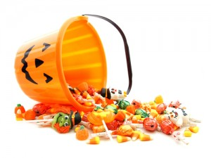 Bucket of Halloween Candy tipped over