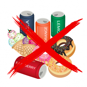 A red 'X' going through soda cans, donuts, and ice cream cones on a white background